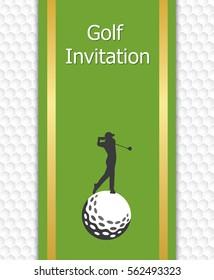 Golf tournament invitation graphic design. Golfer swinging on golf ball. Golf ball pattern texture in background.