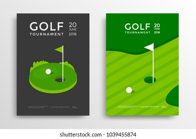 Golf tournament poster design template. Vector sport flyer