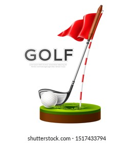 Golf tournament poster with realistic golf club, flag and golf ball on green grass. Vector golf competition flyer design. Elite sport banner.
