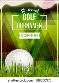 Golf tournament poster template. Flyer design. Vector illustration