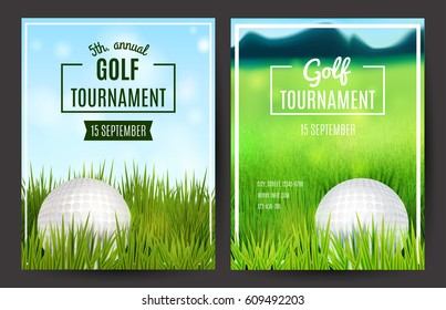 Golf tournament poster template. Flyer design. Vector illustration