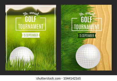 Golf tournament poster templates. Flyer design. Vector illustration