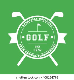 Golf Tournament round badge, sign with crossed golf clubs, white on green, vector illustration