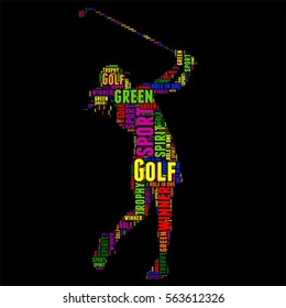 Golf Typography word cloud colorful Vector illustration