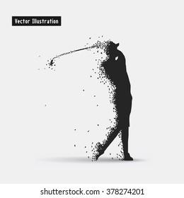 Golf. Vector eps10 illusration. Particle divergent composition