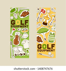 Golf vector golfers sportswear and golfball for playing in golfclub backdrop illustration set of sportsman golfing clothes background banner.