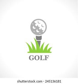 Golf. Vector logo. Simple vector icon of the ball on the grass.