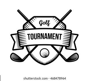 Golf vector logo. Summer individual sport tournament. Black and white badge, shirt mascot design.