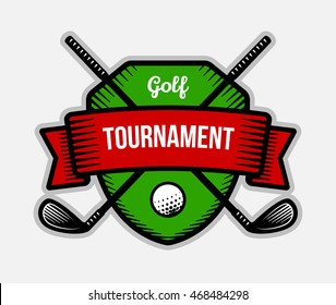 Golf vector logo. Summer individual sport tournament. Color badge, shirt mascot design.