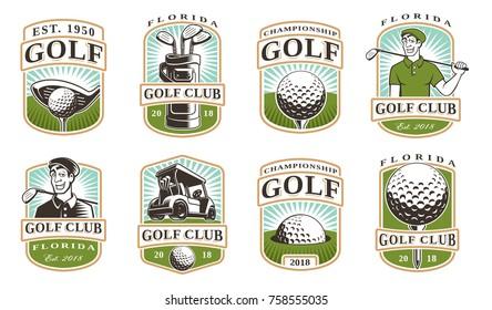 Golf vector set with vintage logos, badges, emblems on white background