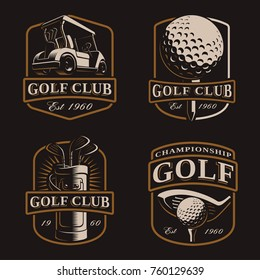 Golf vector set with vintage logos, bages, emblems on dark background. Text is on the separate layer.