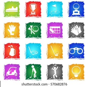 golf vector web icons in grunge style for user interface design