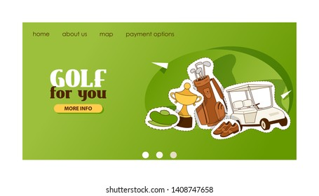 Golf vector web page golfers sportswear and golfball for playing in golfclub backdrop illustration set of sportsman golfing clothes web-page landing background banner.