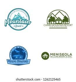 Golf vintage cottage mountain snow winter sky line logo design vector template set suitable for ski resort hill hotel  wood house valley