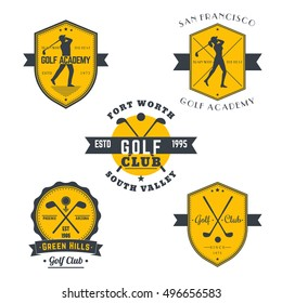 Golf vintage emblems, logos, badges with golfers, crossed golf clubs and ball, in gray and orange
