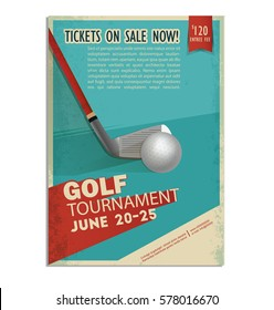 Golf. Vintage, retro poster or flyer with a golf ball. Text and background on a separate layer, color can be changed in one click.