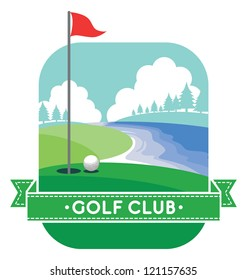 golf yard vector with banner and text space
