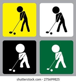 Golf zone,Golf area, Play Golf vector icon in different age or rank