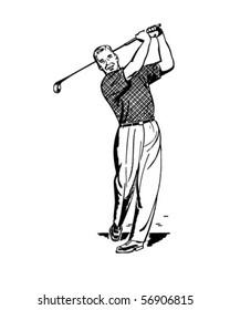 Golfer 2 - Teeing Off - Retro Clip Art