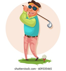 Golfer blond in sunglasses is standing on the grass with a stick for a golfer. Vector cartoon illustration.