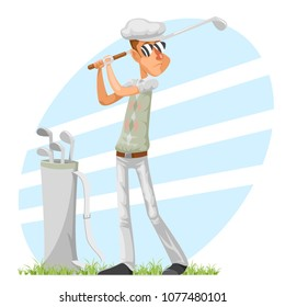 Golfer cool professional player adjusts glove champion golf club cartoon isolated character design vector illustration