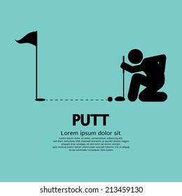 Golfer Lines Up Putt Symbol Vector Illustration