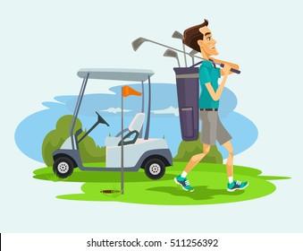 Golfer man character playing golf. Vector flat cartoon illustration