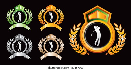 Golfer silhouette in various colored royal crests