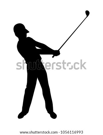 Golfer Silhouette Vector Stock Vector Royalty Free 1056116993