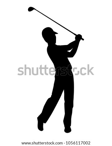 Golfer Silhouette Vector Stock Vector Royalty Free 1056117002