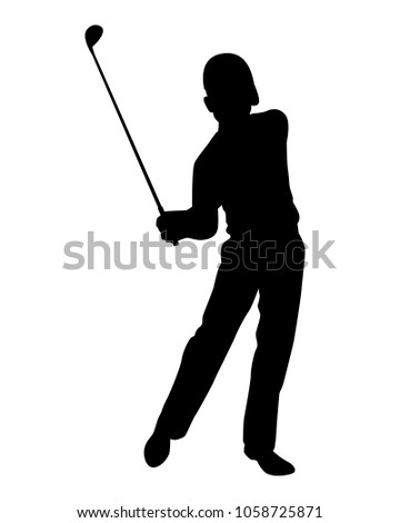 Golfer Silhouette Vector Stock Vector Royalty Free 1058725871