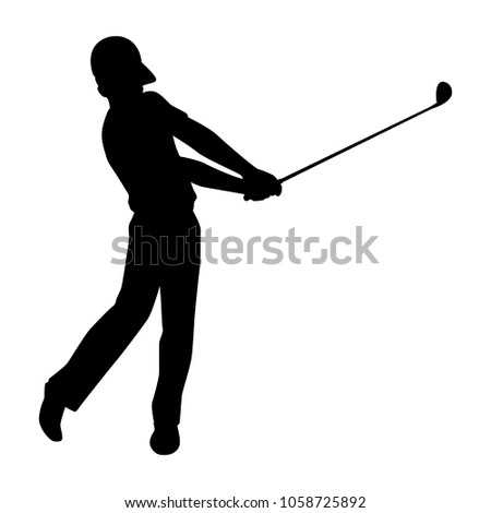 Golfer Silhouette Vector Stock Vector Royalty Free 1058725892