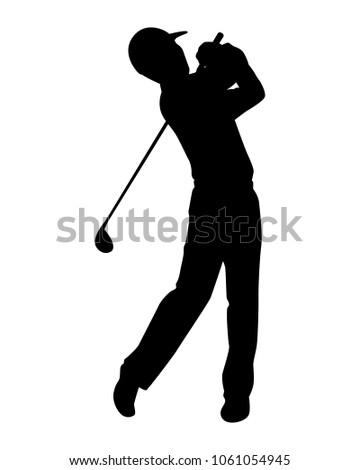 Golfer Silhouette Vector Stock Vektorgrafik Lizenzfrei 1061054945