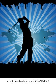 Golfer silhouettes, vector illustration