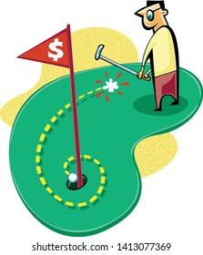 Golfer sinking spiral putt on putting green