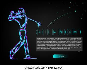 Golfer swing on golf course.