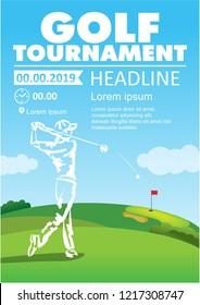 Golfer swing on golf course. Golf poster. Vector sport flyer design template.