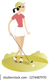 Golfer woman on the golf course isolated illustration. Golfer woman aiming to do a good kick isolated on white