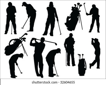 golfers silhouette collection vector
