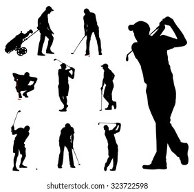 golfers silhouettes collection 2