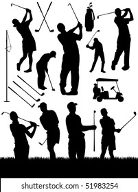 Golfing Vector Elements Silhouettes
