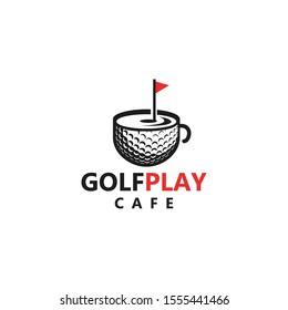 golfplay cafe logo, with ball, golf course and mug vector