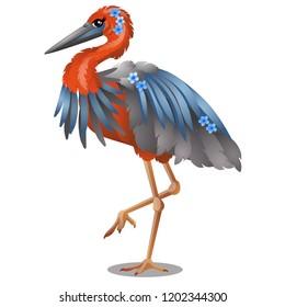 Goliath Heron or Ardea goliath isolated on white background. Vector cartoon close-up illustration.