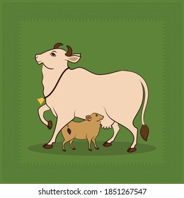 Gomata Painted in Indian Antique Miniature Painting Style called Pichwai, Vector Painting of Kamdhenu, Cow with Calf Traditionally worshiped on the occasion Vasubaras aka Govatsa Dwadashi in Diwali.