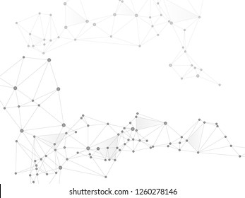 Gometric plexus structure cybernetic concept. Network nodes greyscale plexus background. Nodes and lines polygonal connections. Information analytics graphics. Coordinates structure grid shape vector.