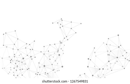 Gometric plexus structure cybernetic concept. Network nodes greyscale plexus background. Chemical formula abstraction. Interlinkes nodes cells random grid. Coordinates structure grid shape vector.