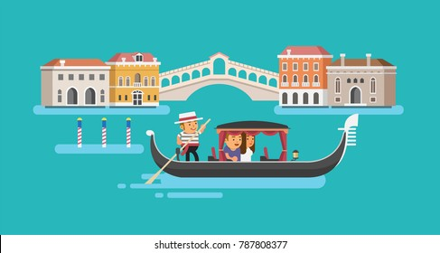 Gondola on Canal Grande in Venice. Vector illustration