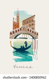 Gondola on the Grand Canal. Rialto bridge. Venice. Italy
