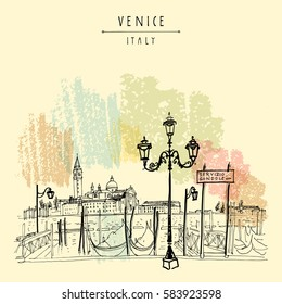 Gondola pier in Venice, Italy. Boat service station and Lido island. Hand drawing. Vintage artistic book illustration. Travel sketch. Retro style touristic postcard, poster, greeting card in vector