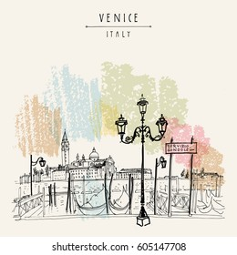 Gondola pier in Venice, Italy. Boat service station and Lido island. Hand drawing. Vintage artistic book illustration. Travel sketch. Retro style touristic postcard, poster, greeting card in vector.